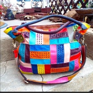 American Leather multicolored patchwork Tote bag
